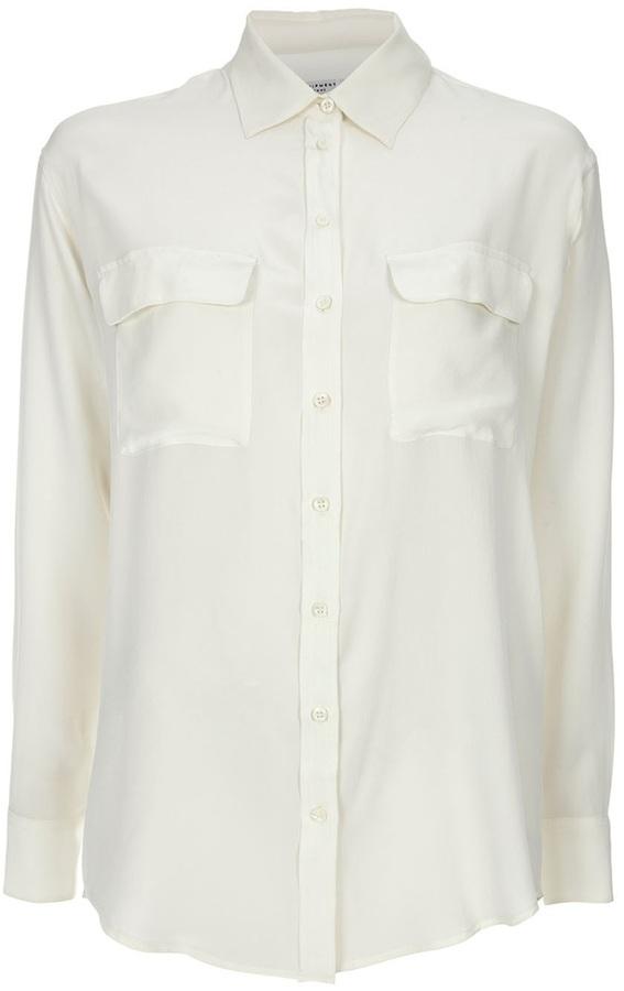 Camisa de vestir de seda blanca de Equipment
