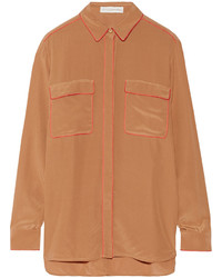 Camisa de vestir de seda marrón