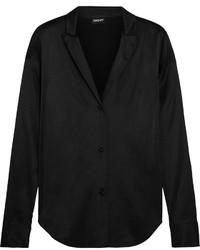 Camisa de vestir de seda negra de DKNY