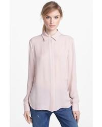 Camisa de vestir de seda rosada de Vince