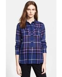 Camisa de vestir de tartán azul marino de Burberry