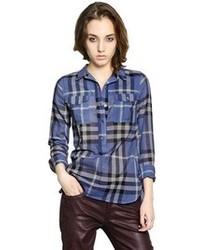 Camisa de vestir de tartán azul de Burberry