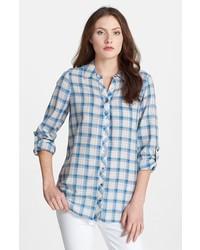 Camisa de vestir de tartán celeste de Joie