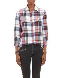 Camisa de vestir de tartán en blanco y rojo y azul marino