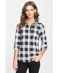 Camisa de vestir de tartán en negro y blanco de Foxcroft