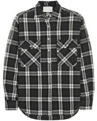 Camisa de vestir de tartán en negro y blanco de R 13