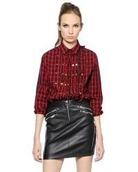 Camisa de Vestir de Tartán en Rojo y Negro de Diesel