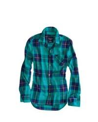 Camisa de vestir de tartán en verde azulado