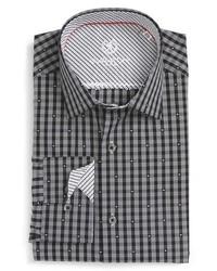 Camisa de vestir de tartán gris de Bugatchi