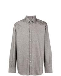 Camisa de vestir de tartán gris de Canali