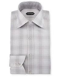 Camisa de vestir de tartán gris de Tom Ford