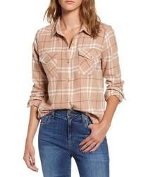 Camisa de vestir de tartán marrón claro