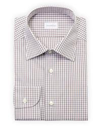 Camisa de vestir de tartán marrón de Ermenegildo Zegna