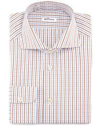Camisa de vestir de tartán marrón de Kiton