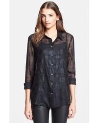 Camisa de vestir de tartán negra de Equipment