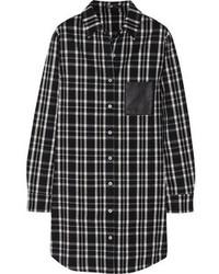 Camisa de vestir de tartán negra de Maje