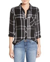 Camisa de vestir de tartán negra de Rails