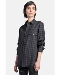 Camisa de vestir de tartán negra de Saint Laurent