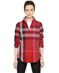 Camisa de vestir de tartán roja de Burberry