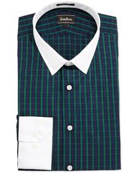 Camisa de vestir de tartán verde