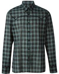Camisa de vestir de tartán verde oscuro de Lanvin