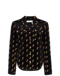 Camisa de vestir de terciopelo bordada negra de Chloé