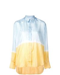 Camisa de vestir efecto teñido anudado celeste