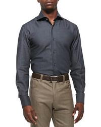 Camisa de vestir en gris oscuro de Neiman Marcus