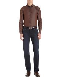 Camisa de vestir en marrón oscuro