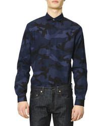 Camisa de vestir estampada azul marino