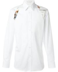 Camisa de vestir estampada blanca de Alexander McQueen