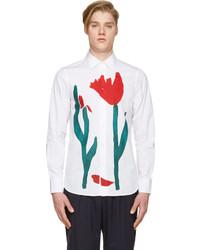 Camisa de vestir estampada blanca de Marni