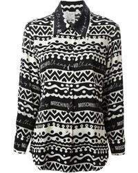 Camisa de vestir estampada en blanco y negro de Moschino