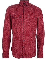 Camisa de vestir estampada roja de Just Cavalli