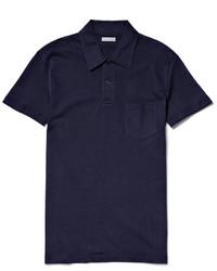 Camisa polo azul marino de Sunspel