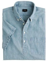 Camisa polo de cambray azul