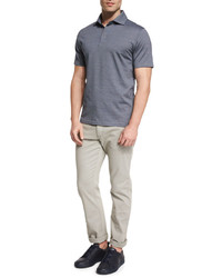 Camisa polo de rayas verticales azul de Ermenegildo Zegna