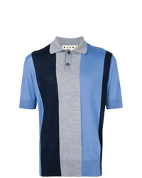 Camisa polo de rayas verticales azul de Marni