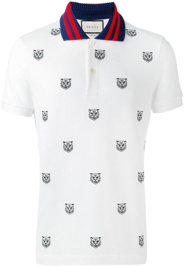 Camisa Polo Estampada Blanca de Gucci  dónde comprar y cómo combinar 07273eeba8a31