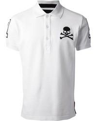 Camisa polo estampada en blanco y negro
