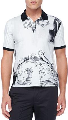 mejor online precio justo despeje $350, Camisa polo estampada en blanco y negro de Versace
