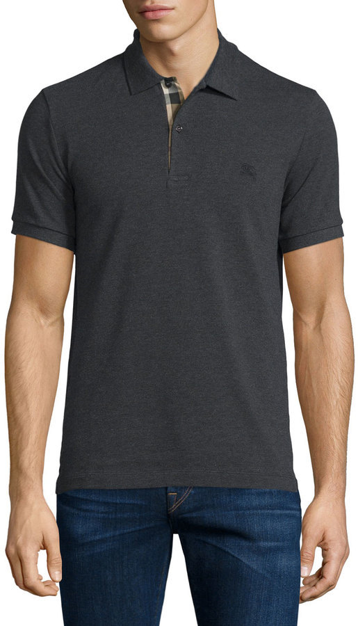e515ec56d176 Camisa Polo Gris Oscuro de Burberry  dónde comprar y cómo combinar