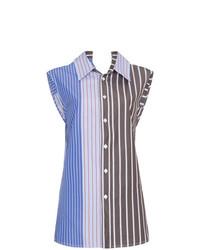 Camisa sin mangas de rayas verticales azul de Marni