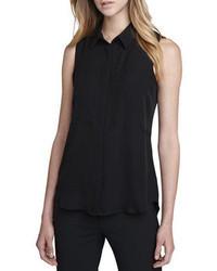 Camisa sin mangas de seda negra