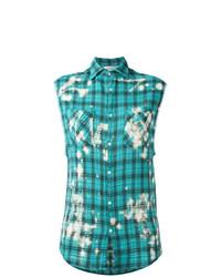 Camisa sin mangas de tartán en turquesa de Faith Connexion