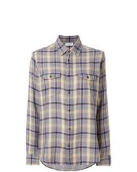 Camisa vaquera a cuadros gris de Saint Laurent