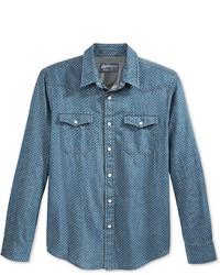 Camisa vaquera a lunares azul