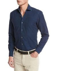 Camisa vaquera azul marino de Ermenegildo Zegna