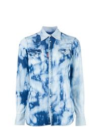 Camisa vaquera efecto teñido anudado celeste de Dsquared2