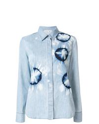 Camisa vaquera efecto teñido anudado celeste de Stella McCartney